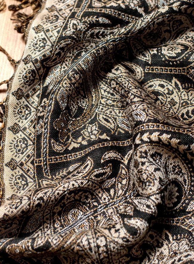 〔200cm×70cm〕インド更紗 伝統チンツ柄ストール - 黒系アソートの写真6 - 拡大写真です