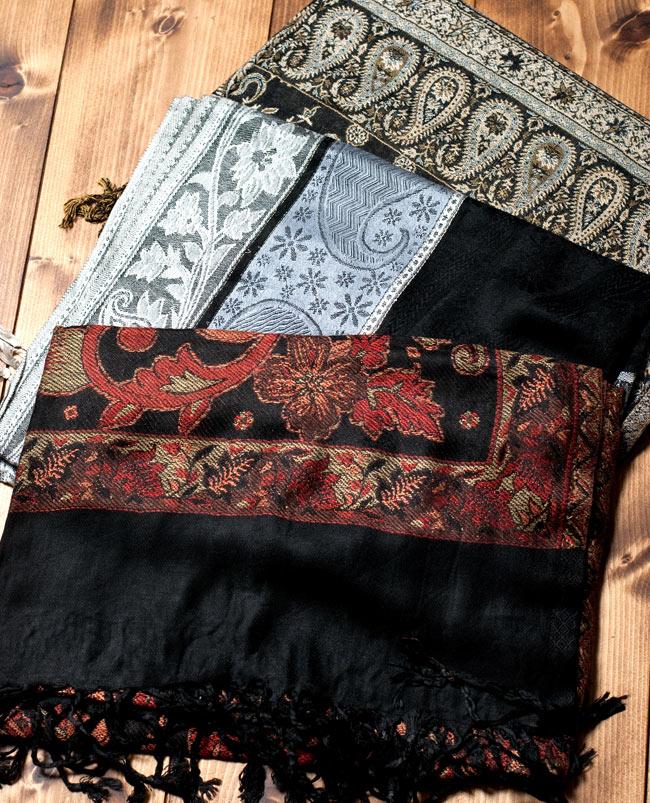 〔200cm×70cm〕インド更紗 伝統チンツ柄ストール - 黒系アソートの写真