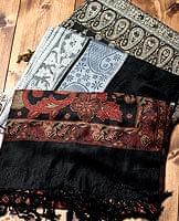 〔200cm×70cm〕インド更紗 伝統チンツ柄ストール - 黒系アソート