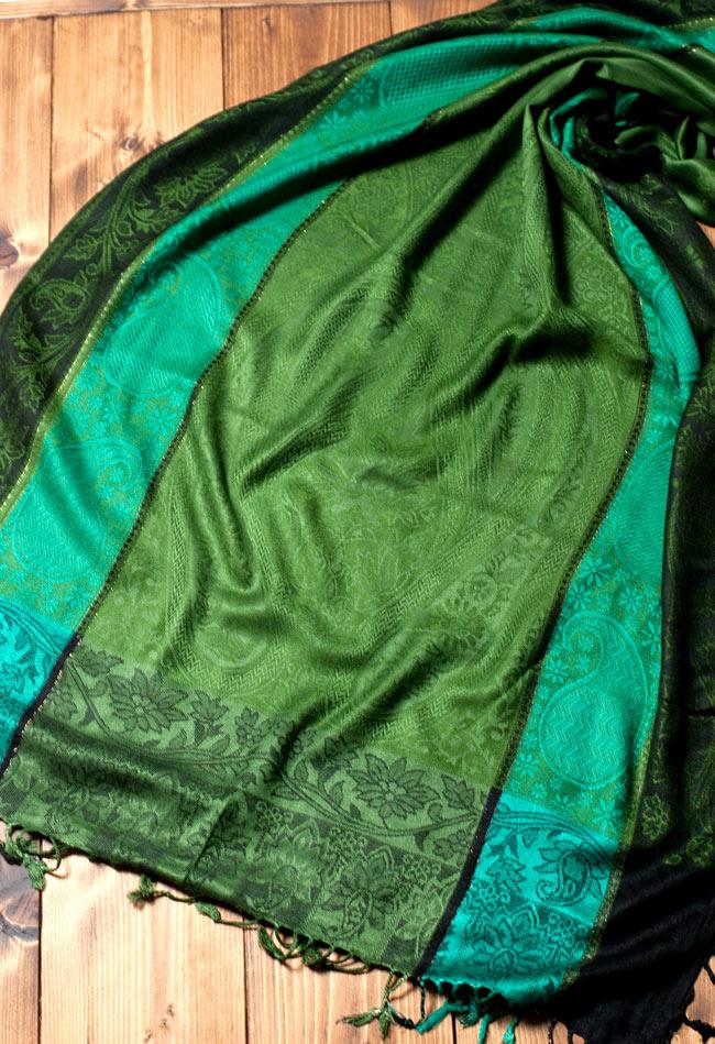 〔200cm×70cm〕インド更紗 伝統チンツ柄ストール - 緑系アソートの写真4 - 広げた写真です。色合いも綺麗です。