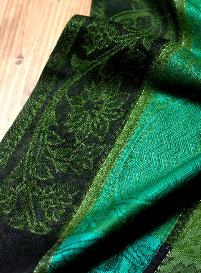 〔200cm×70cm〕インド更紗 伝統チンツ柄ストール - 緑系アソートの写真6 - 拡大写真です