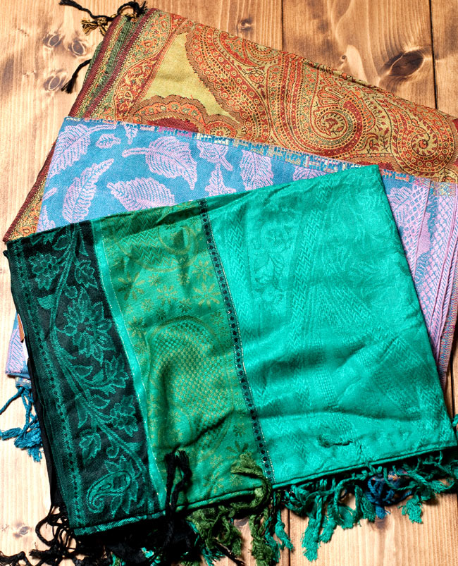 〔200cm×70cm〕インド更紗 伝統チンツ柄ストール - 緑系アソートの写真