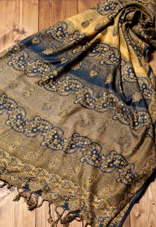 〔200cm×70cm〕インド更紗 伝統チンツ柄ストール - 黄色系アソートの写真4 - 広げた写真です。色合いも綺麗です。