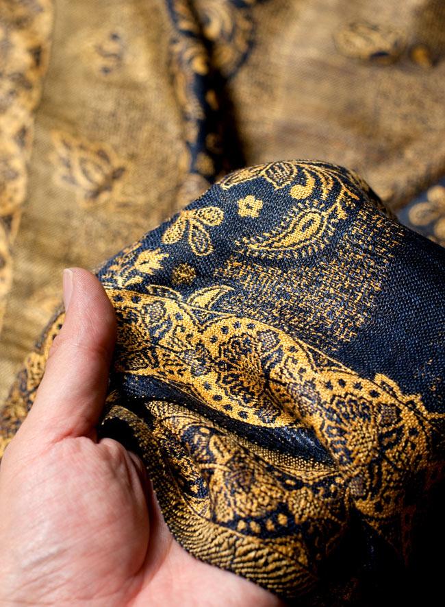 〔200cm×70cm〕インド更紗 伝統チンツ柄ストール - 黄色系アソートの写真7 - 肌触りはチクチクしないので、ウールのマフラーなどが苦手なお客様へもオススメです!
