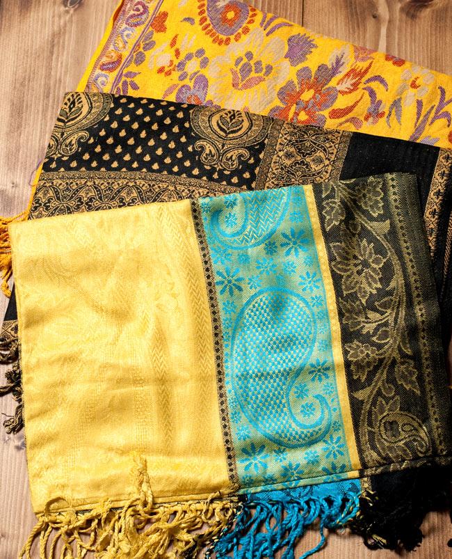 〔200cm×70cm〕インド更紗 伝統チンツ柄ストール - 黄色系アソートの写真