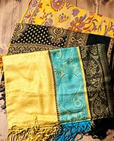 〔200cm×70cm〕インド更紗 伝統チンツ柄ストール - 黄色系アソート