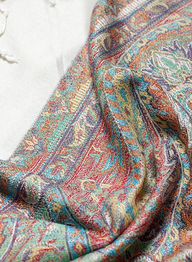 〔200cm×70cm〕インド更紗 伝統ペイズリー柄ストール - ホワイト 5 - 拡大写真です