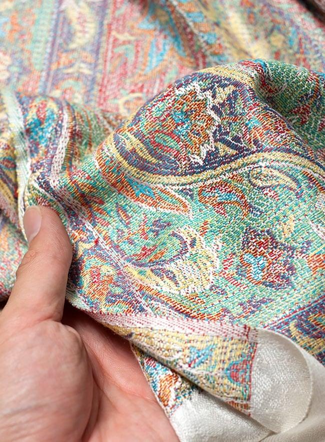 〔200cm×70cm〕インド更紗 伝統ペイズリー柄ストール - ホワイト 6 - 肌触りはチクチクしないので、ウールのマフラーなどが苦手なお客様へもオススメです!