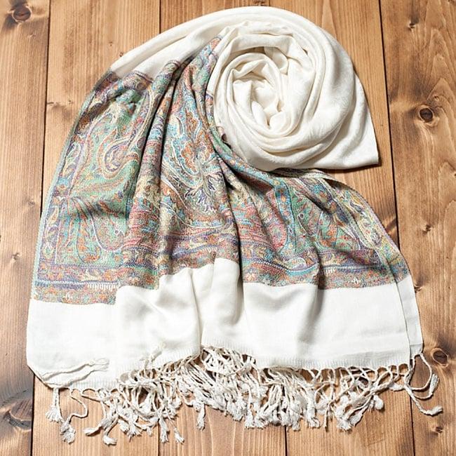 〔200cm×70cm〕インド更紗 伝統ペイズリー柄ストール - ホワイトの写真
