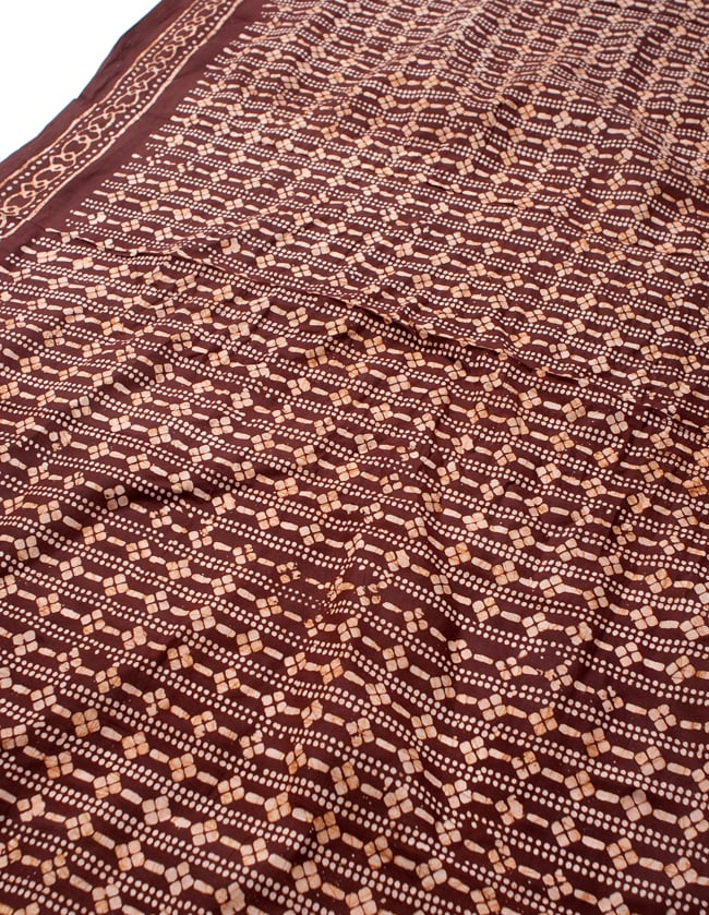 〔185cm*115cm〕インドのコットンバティック 伝統ろうけつ染め布 - 茶色の写真