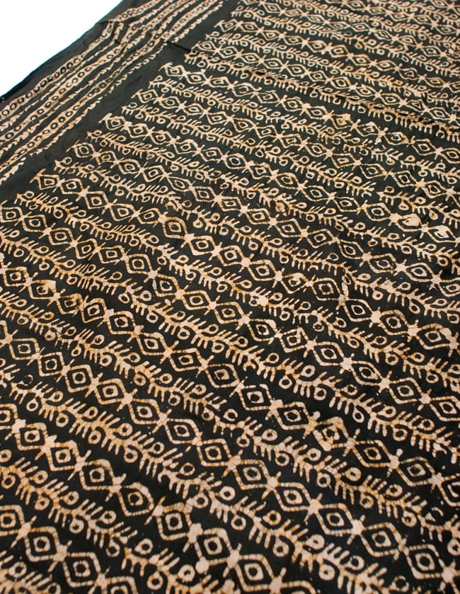 〔185cm*115cm〕インドのコットンバティック 伝統ろうけつ染め布 - 深緑の写真