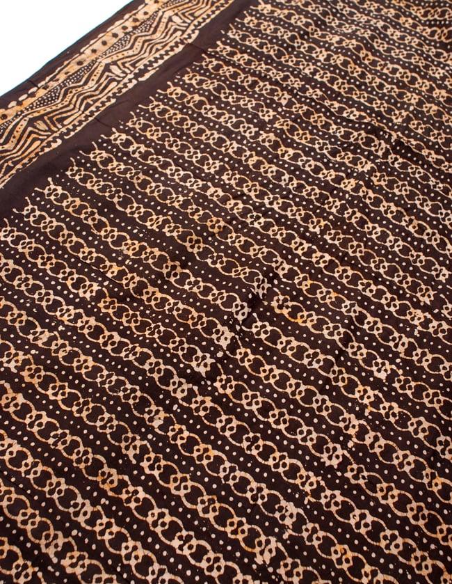 〔185cm*115cm〕インドのコットンバティック 伝統ろうけつ染め布 - 焦げ茶の写真