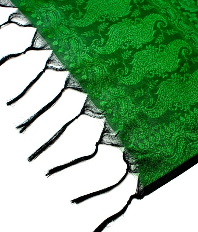 光沢ペイズリー シルク風ファブリック[濃緑系] 5 - フリンジの拡大写真です