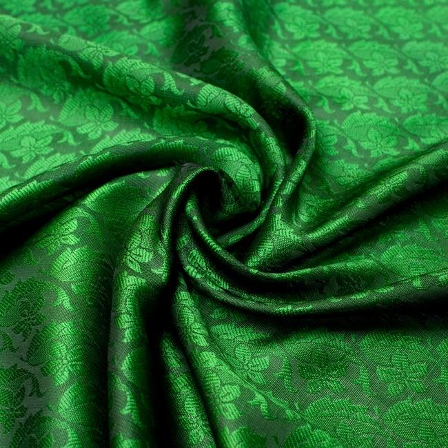 光沢ペイズリー シルク風ファブリック[濃緑系]の写真
