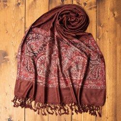 〔200cm×70cm〕インドの伝統柄 ペイズリーショール - ブラウン