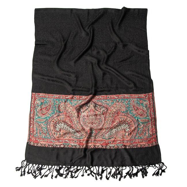 〔210cm×95cm〕インドの伝統柄 ペイズリーショール - ブラック 2 - 二つ折りにして広げてみた様子です。