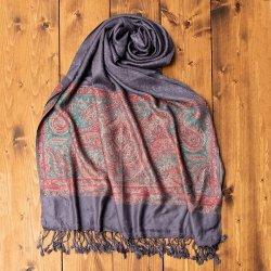 〔200cm×70cm〕インドの伝統柄 ペイズリーショール - グレー