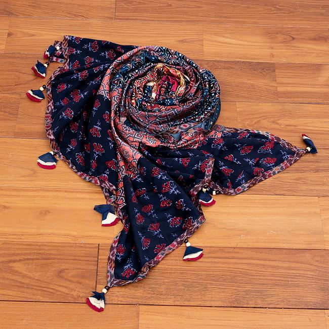 【インド品質】 1点もの インドの伝統柄 アジュラックプリント ドゥパッタ ストール【約80cm×222cm】 10 - 巻いても美しい
