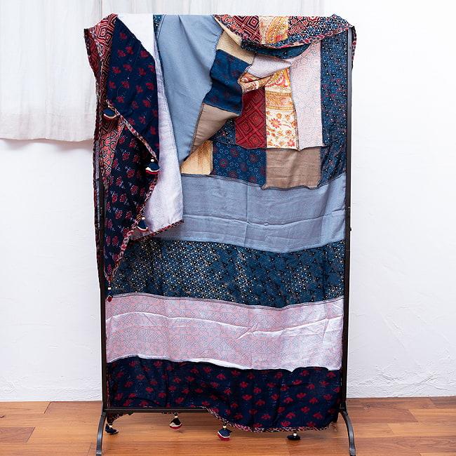 【インド品質】 1点もの インドの伝統柄 アジュラックプリント ドゥパッタ ストール【約80cm×222cm】 11 - 裏面はこのようになっています