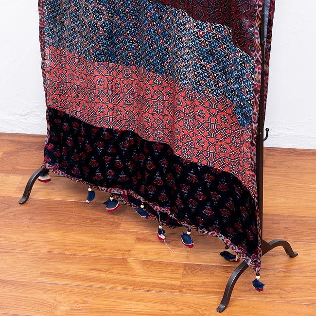 【インド品質】 1点もの インドの伝統柄 アジュラックプリント ドゥパッタ ストール【約80cm×222cm】 3 - 色合わせも素敵
