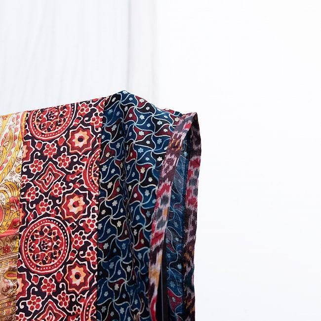 【インド品質】 1点もの インドの伝統柄 アジュラックプリント ドゥパッタ ストール【約80cm×222cm】 4 - 端はトリミングされています