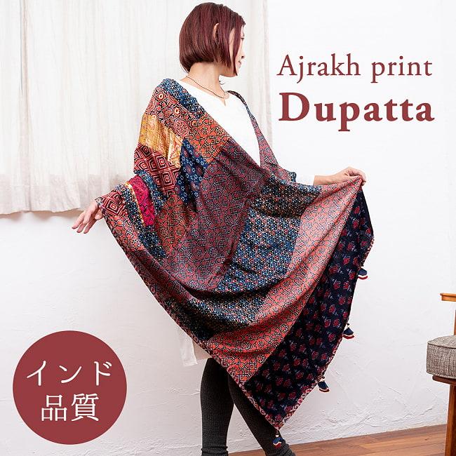 【インド品質】 1点もの インドの伝統柄 アジュラックプリント ドゥパッタ ストール【約80cm×222cm】の写真