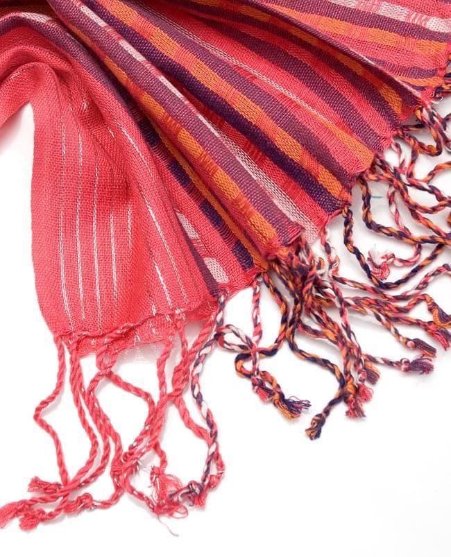 銀糸入りスカーフ - 濃ピンク系 4 - フリンジ部分はこんな具合です。