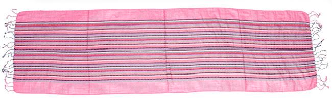 銀糸入りスカーフ - 濃ピンク系 8 - 完全に広げてみました。