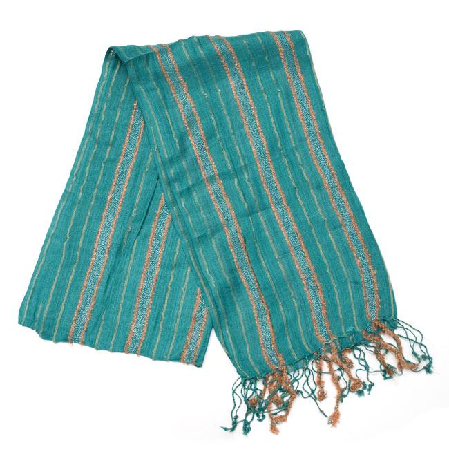 金糸入りスカーフ - 淡緑系の写真