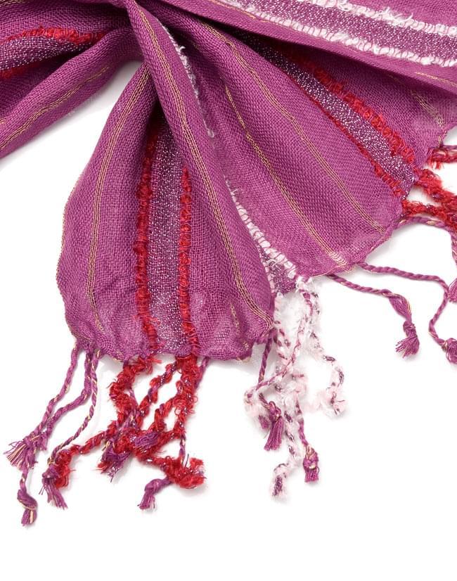 金糸入りスカーフ - 紫系 4 - フリンジ部分はこんな具合です。