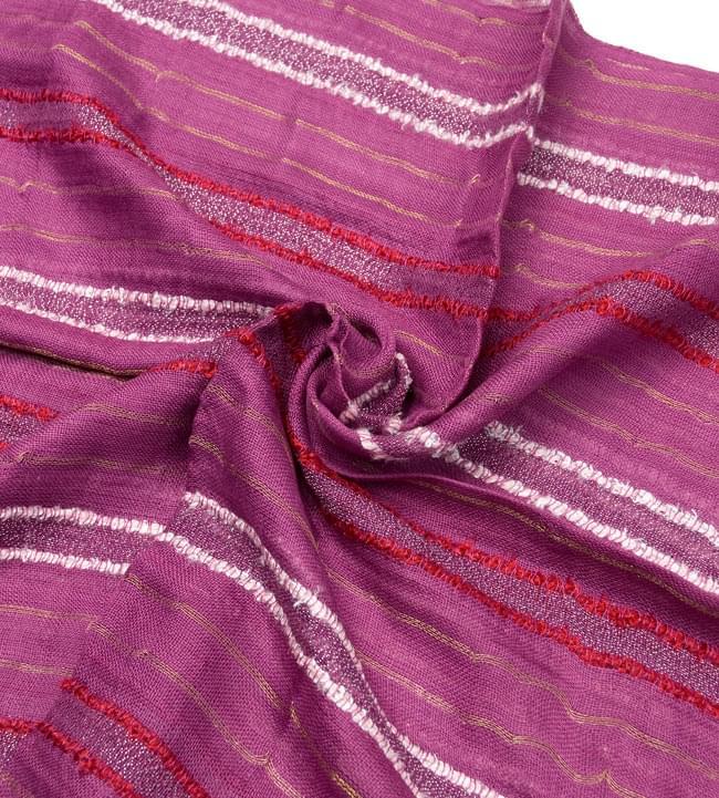 金糸入りスカーフ - 紫系 5 - クシュッとしてみました。