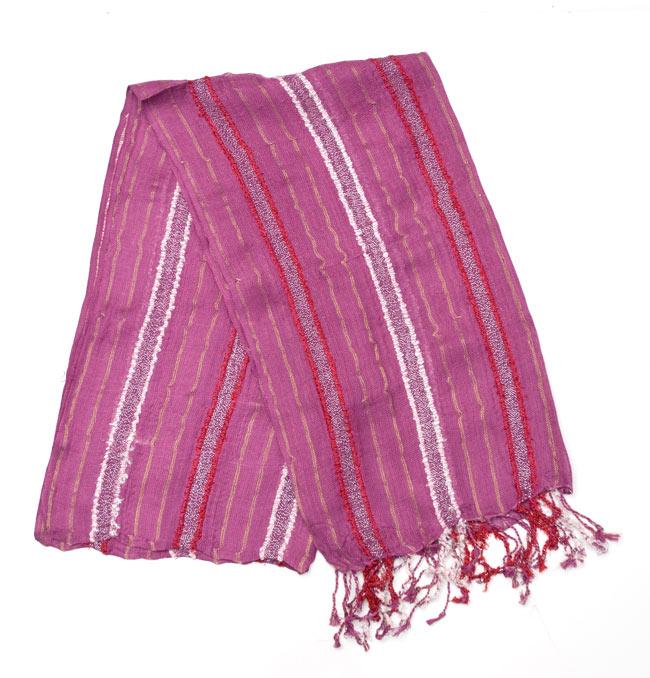 金糸入りスカーフ - 紫系の写真
