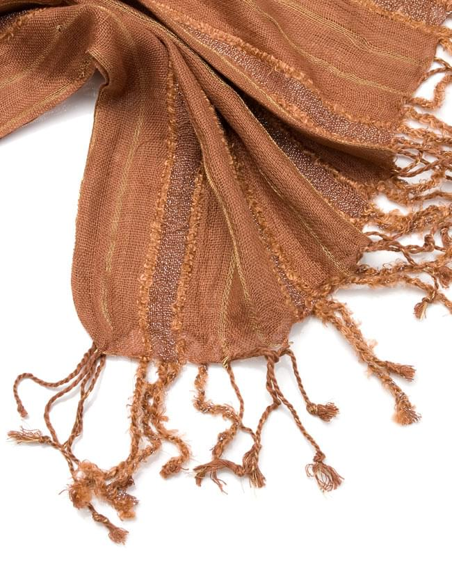 金糸入りスカーフ - 茶系の写真4 - フリンジ部分はこんな具合です。