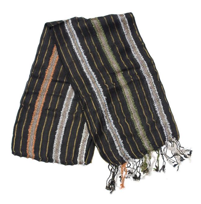金糸入りスカーフ - 黒系の写真