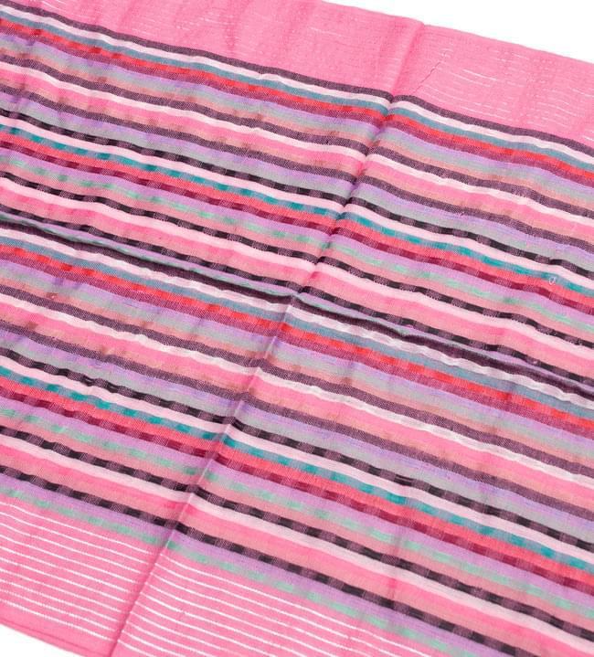 銀糸入りスカーフ - ピンク系の写真2 - 銀糸がアクセントになっています。