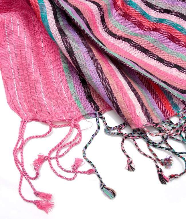 銀糸入りスカーフ - ピンク系の写真4 - フリンジ部分はこんな具合です。