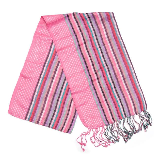 銀糸入りスカーフ - ピンク系の写真