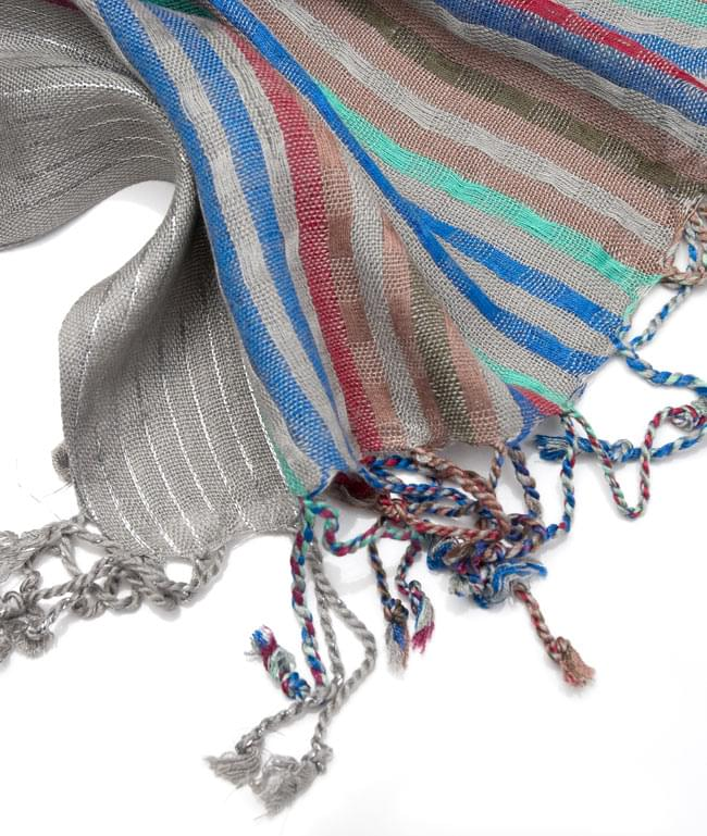 銀糸入りスカーフ - グレー系 4 - フリンジ部分はこんな具合です。