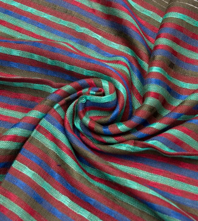 銀糸入りスカーフ - 淡緑系 5 - クシュッとしてみました。