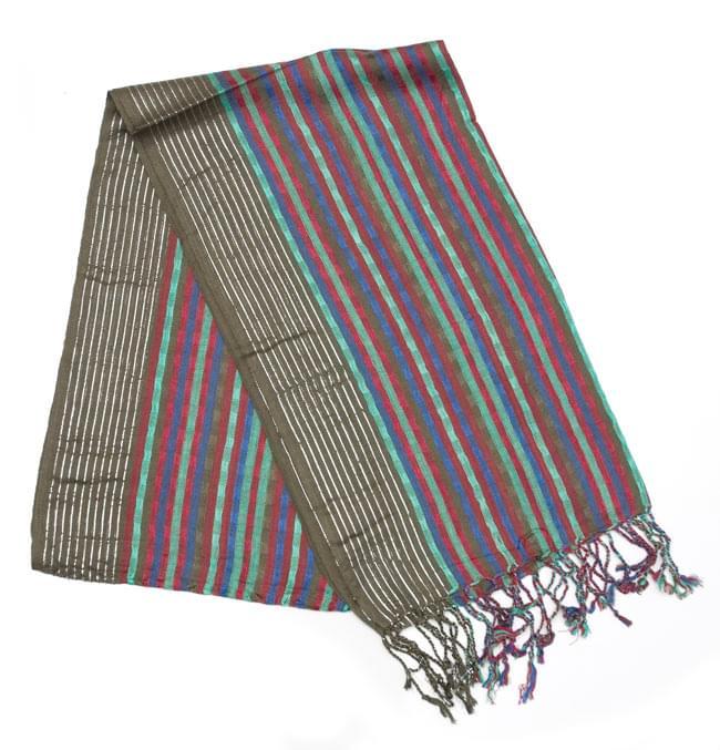 銀糸入りスカーフ - 淡緑系の写真