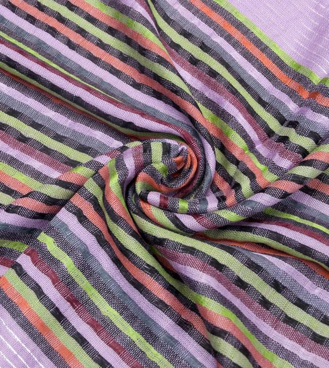 銀糸入りスカーフ - 薄紫系の写真5 - クシュッとしてみました。