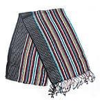銀糸入りスカーフ - 黒系