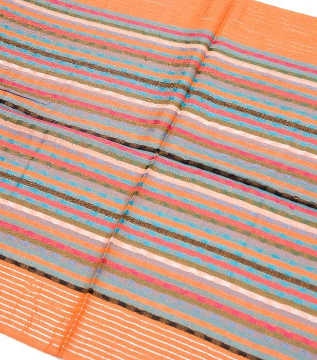 銀糸入りスカーフ - オレンジ系 2 - 銀糸がアクセントになっています。