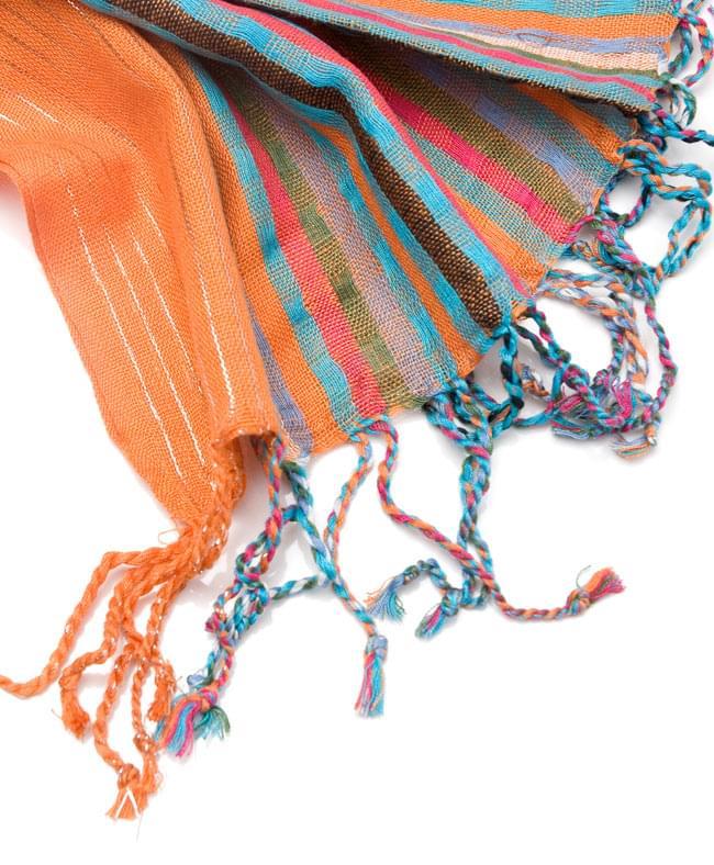 銀糸入りスカーフ - オレンジ系 4 - フリンジ部分はこんな具合です。