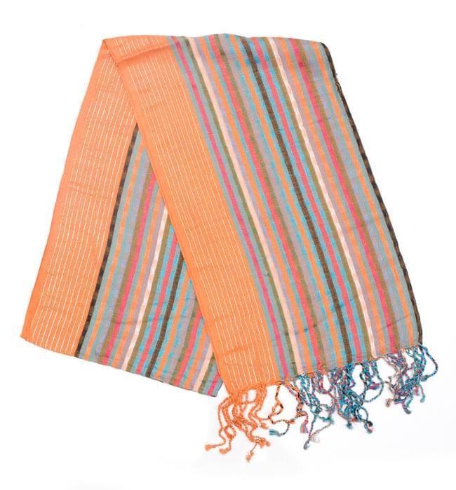 銀糸入りスカーフ - オレンジ系の写真
