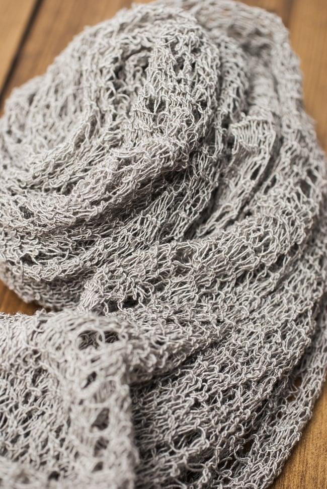 【一点もの】ワイルドヘンプストール 5 - 長い時間をかけて丁寧に編み込んだ様子が伺われます。