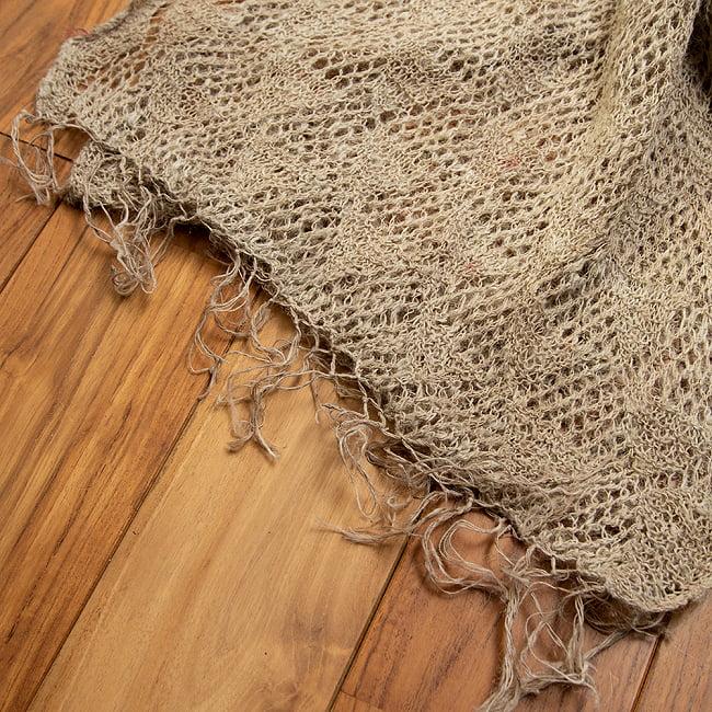 天然ネトルの手編みストール 3 - フリンジ部分を見てみました。