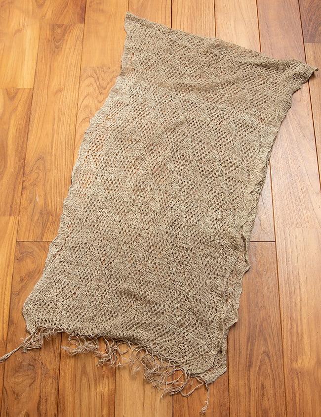 天然ネトルの手編みストール 4 - 二つ折りにして広げてみました。