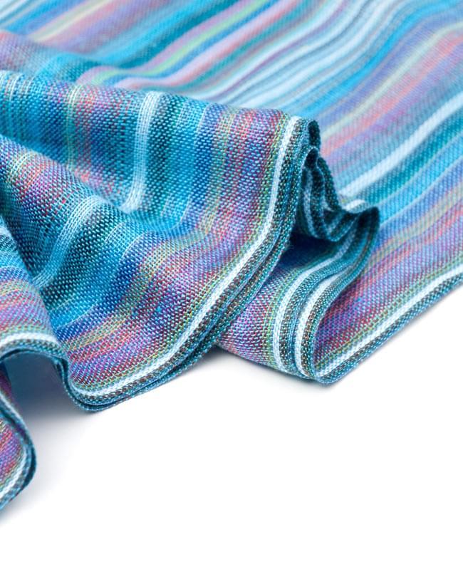カラフルストライプスカーフ - 水色系の写真3 - とても柔らかいビスコース素材です。