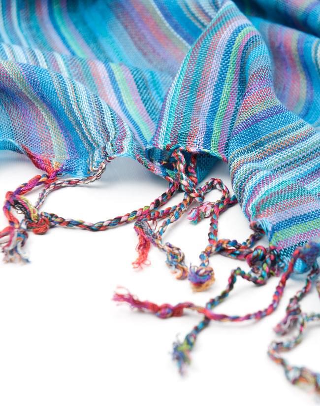 カラフルストライプスカーフ - 水色系の写真4 - フリンジ部分はこんな感じです。
